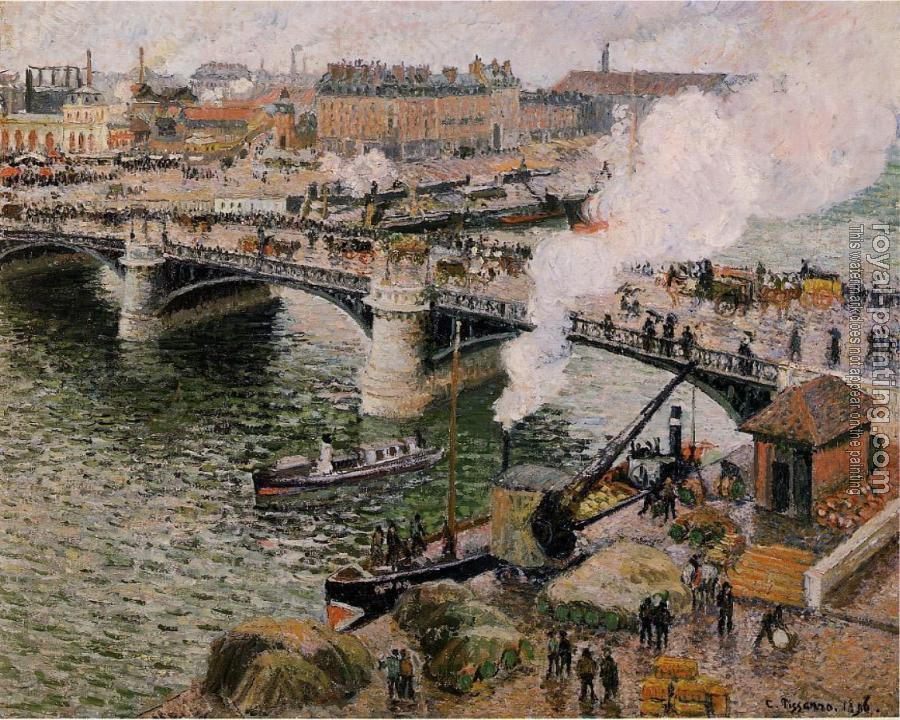 Camille Pissarro : The Boieldieu Bridge, Rouen, Damp Weather